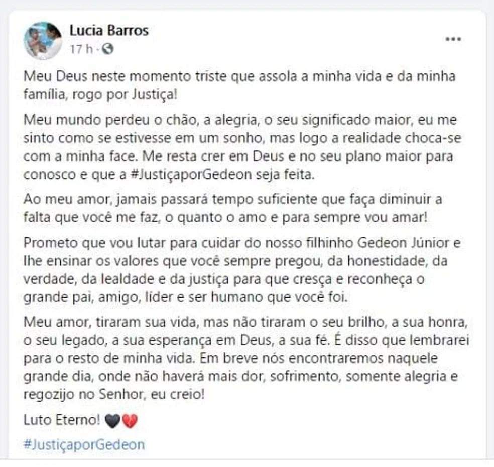 Em publicação nas redes socias, Lúcia Barros lamentou a perda do marido — Foto: Reprodução