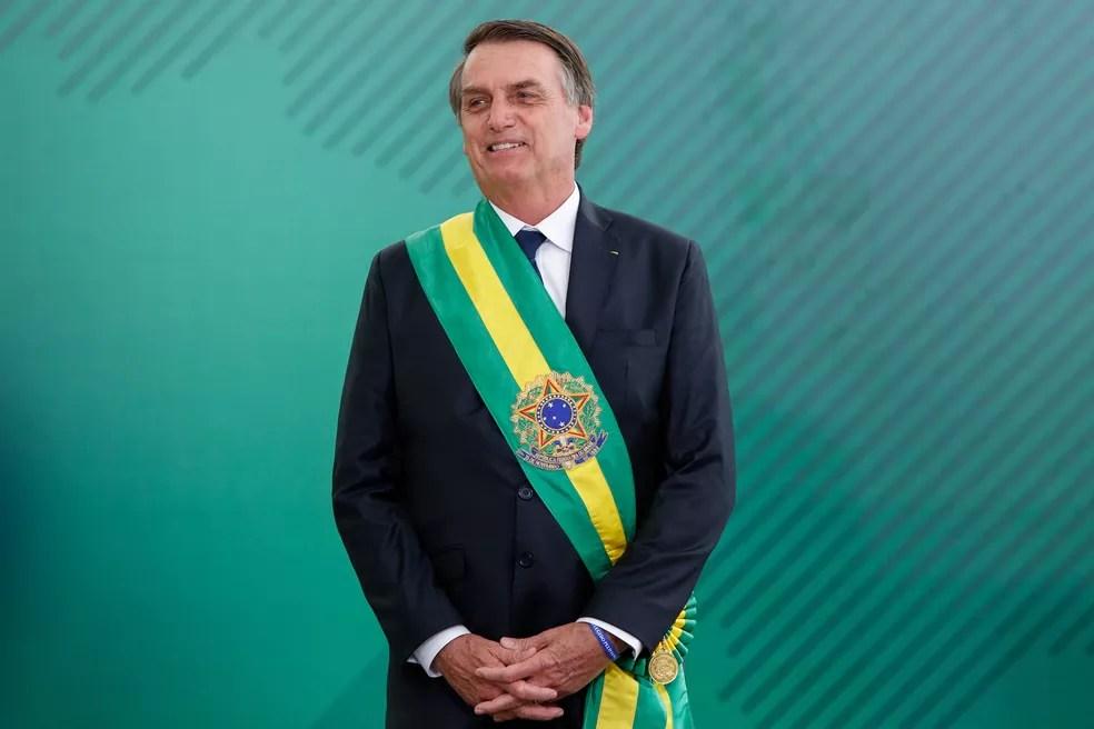 O presidente da República, Jair Bolsonaro, durante a cerimônia de posse ministerial, no Palácio do Planalto, em Brasília — Foto: Alan Santos/Presidência da República