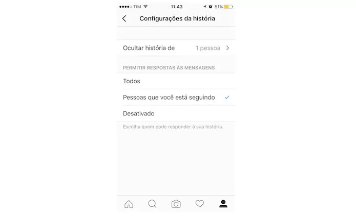Opções de privacidade das histórias do Instagram (Foto: Reprodução/Marvin Costa)
