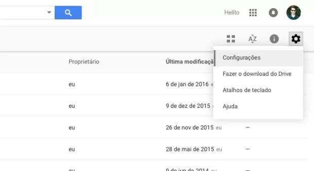 Acesse as configurações do Google Drive (Foto: Reprodução/Helito Bijora)