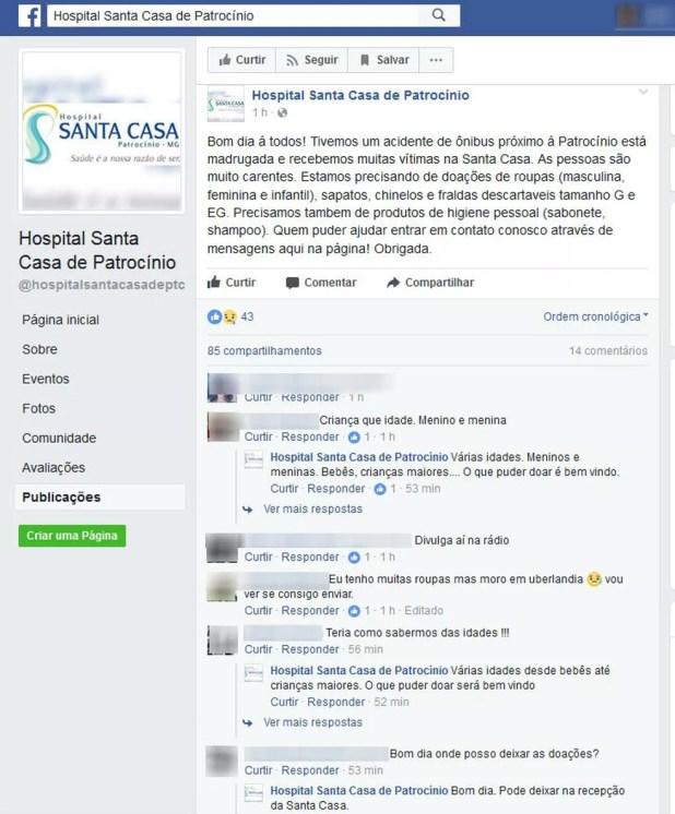 Hospital pede ajuda com doações para as vítimas internadas em Patrocínio  (Foto: Reprodução/Facebook)
