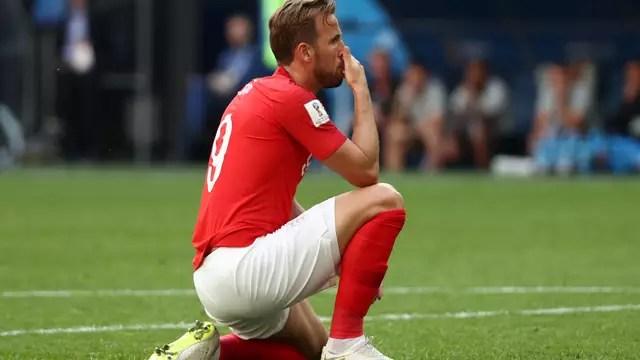 Harry Kane lamenta gol perdido em Bélgica x Inglaterra. Ele se despede da Copa com seis gols