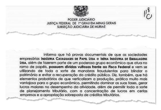 RASTRO Trecho de relatório da Procuradoria da Fazenda. Uma empresa deve R$ 232 milhões  (Foto: reprodução)