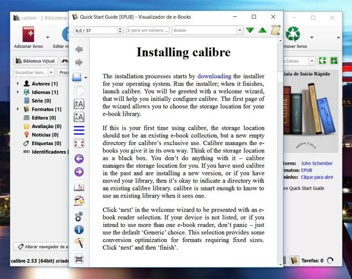 Calibre tem uma série de recursos avançados, permitindo até a edição de ebooks (Foto: Reprodução/Filipe Garrett)