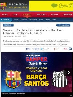 Print site Barcelona amistoso contra o Santos (Foto: Reprodução )