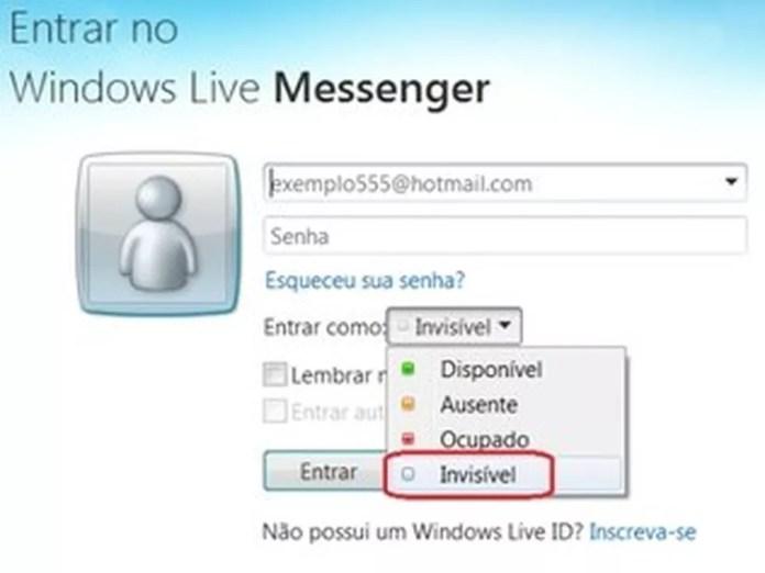 Era possível ficar invisível mesmo estando online — Foto: Divulgação/MSN
