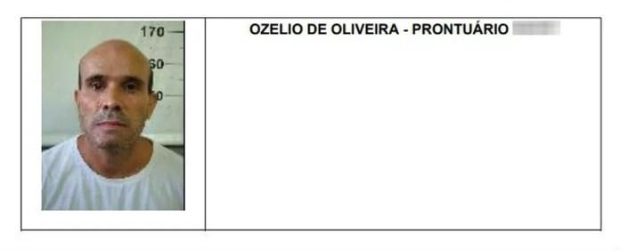 Ozélio de Oliveira, preso pelo sequestro do cantor gospel Wellington Camargo, foi morto em um confronto com a Polícia Militar  — Foto: Reprodução/Depen