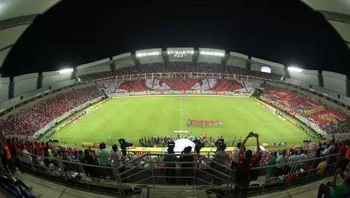 Mosaico torcida América-RN x Flamengo (Foto: Alexandre Lago)