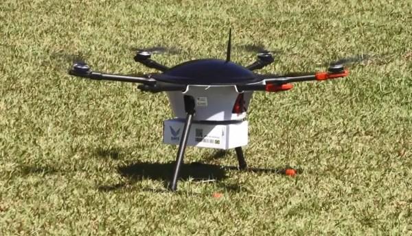Entrega de medicamentos realizada por drone no Brasil — Foto: Reprodução