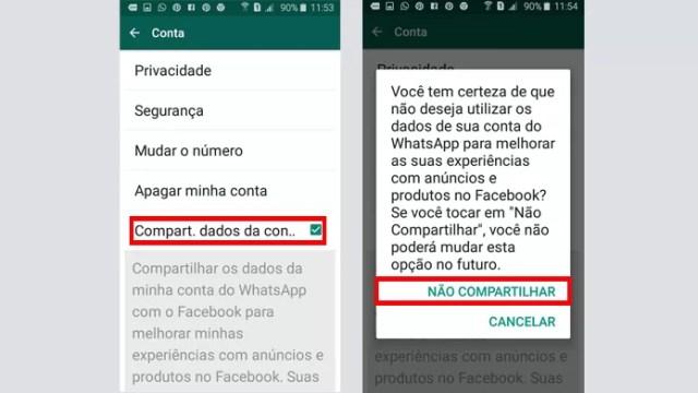 Opção do WhatsApp impede que Facebook acesse dados (Foto: Reprodução/WhatsApp)