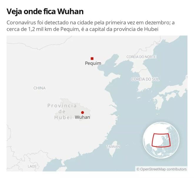 Coronavírus foi detectado em Wuhan pela primeira vez em dezembro; a cerca de 1,2 mil km de Pequim, a cidade é a capital da província de Hubei — Foto: G1