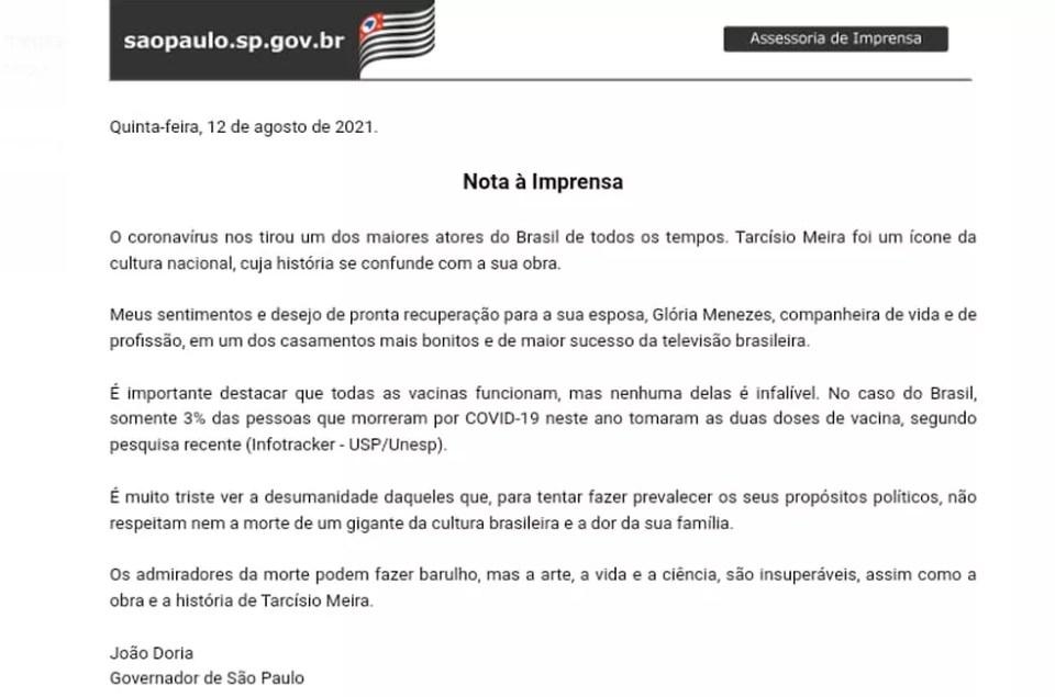 Nota do governador João Doria sobre o falecimento do ator  — Foto: Divulgação/Governo de SP