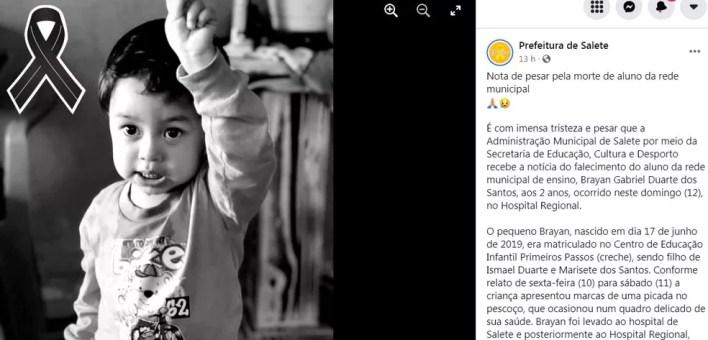 Prefeitura de Salete (SC) lamentou a da criança nas redes sociais — Foto: Prefeitura de Salete/Reprodução