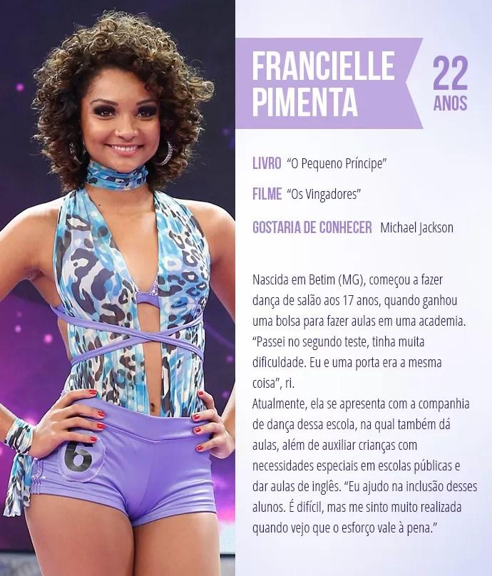 Saiba mais sobre Francielle Pimenta (Foto: Arte: Thays Malcher)