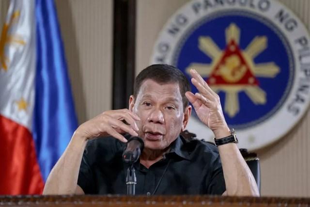 Presidente das Filipinas, Rodrigo Duterte, conversa com jornalistas em 2020 — Foto: King Rodriguez/ Malacanang Presidential Photographers Division/ AP