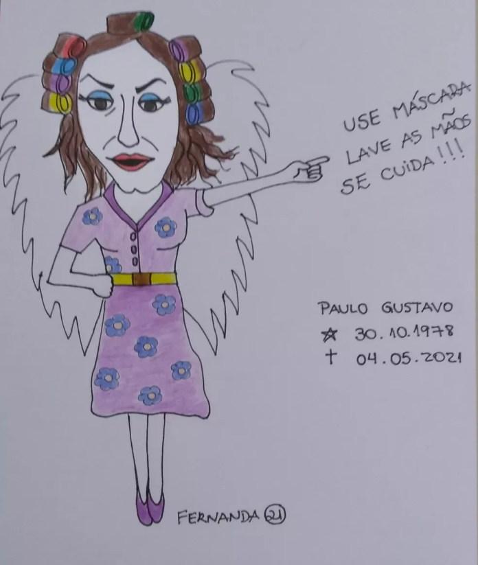 Fernanda Nepomuceno faz homenagem a Paulo Gustavo — Foto: Fernanda Nepomuceno/Associação dos Cartunistas do Brasil