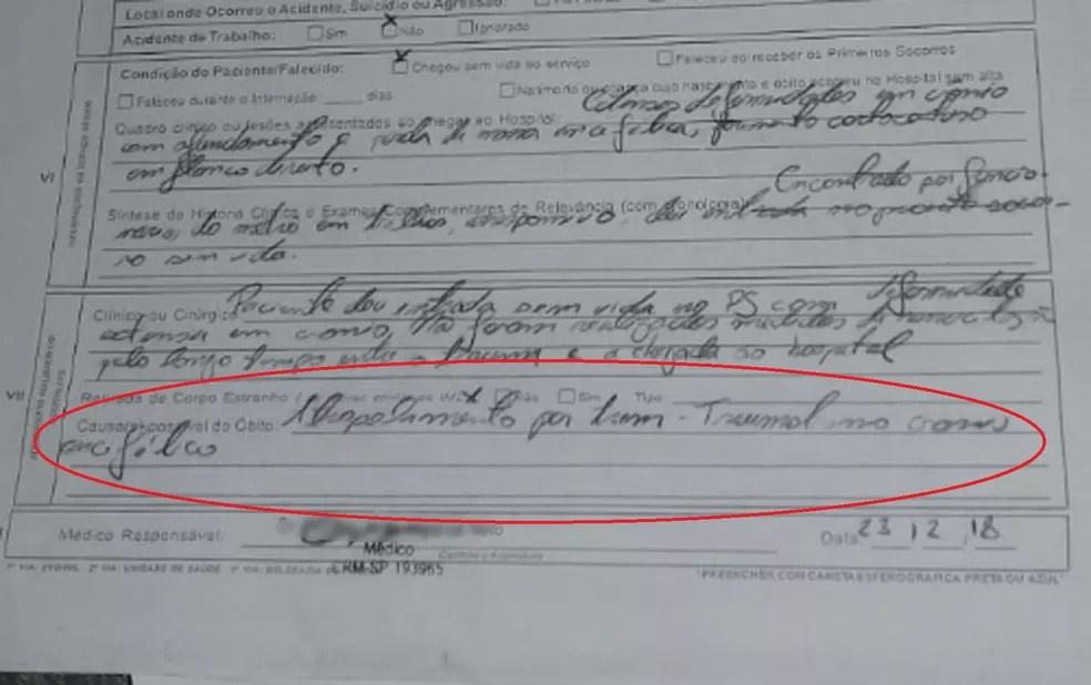 Na marcação em vermelho há informação de que causa da morte de Luan foi atropelamento por trem que provocou traumatismo crânio encefálico, segundo documento do Hospital São Paulo, que atendeu a criança e está com a polícia — Foto: Rerprodução/Polícia Civil