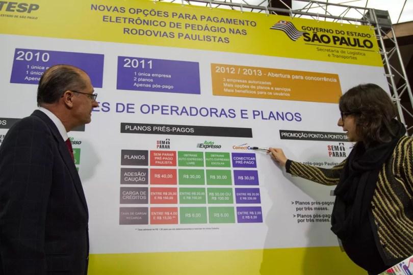Apresentação de sistema de pedágio eletrônico pelo governador Geraldo Alckmin (Foto: Mauricio Rummens/ Governo do Estado de São Paulo)