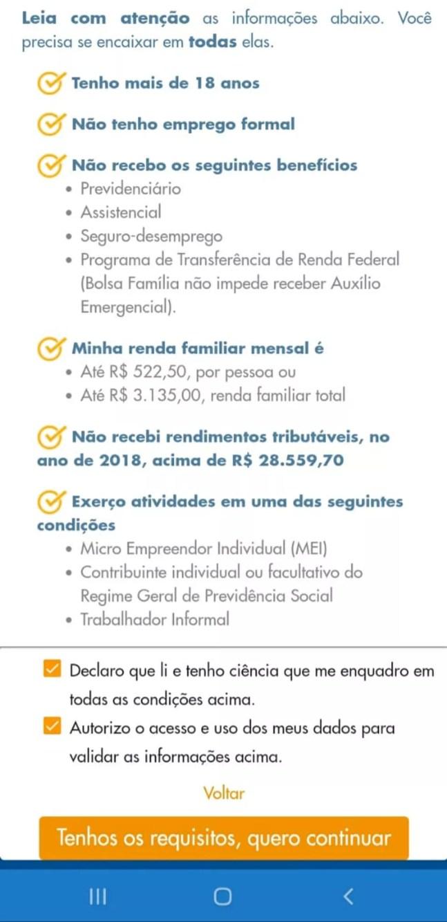 Página do pedido de auxílio emergencial no aplicativo da Caixa — Foto: Reprodução
