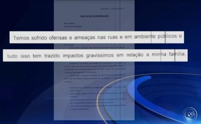 Tatiane enviou carta com pedido de exoneração ao Chefe do Executivo em Sorocaba (SP) (Foto: TV TEM/Reprodução)