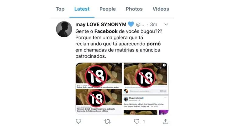Usuários relatam que imagens pornográficas estão surgindo em posts legítimos do Facebook — Foto: Reprodução/Twitter