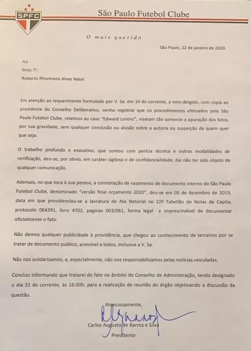 Presidente Leco responde requerimento do vice-presidente Roberto Natel, do São Paulo — Foto: GloboEsporte.com