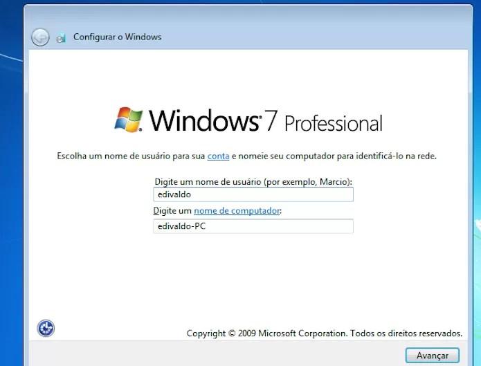 Digitando o nome do usuário e do PC (Foto: Reprodução/Edivaldo Brito)