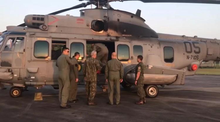 Aeronave do exército leva militares que serão empregados no combate a incêndio e busca e salvamento para Altamira — Foto: Divulgação/Exército