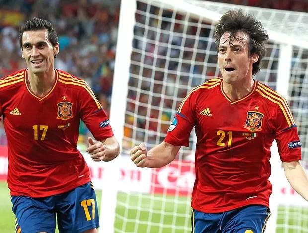 David Silva comemora gol da Espanha contra Itália final (Foto: AP)