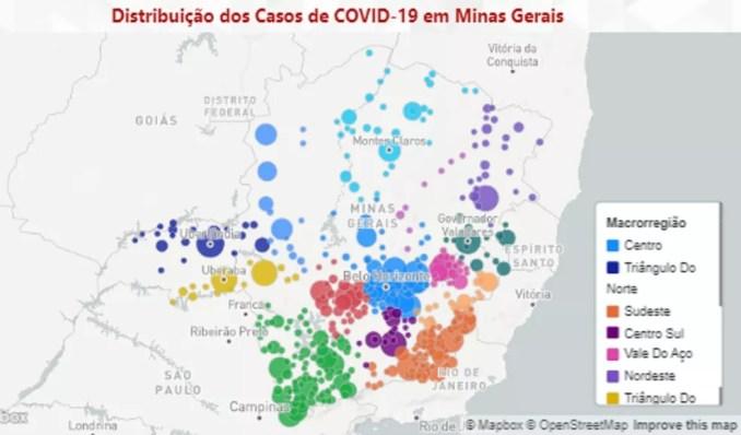 Distribuição de casos de coronavírus em Minas em 31 de maio de 2020. Mais da metade dos municípios mineiros tiveram Covid-19. — Foto: SES-MG / Reprodução