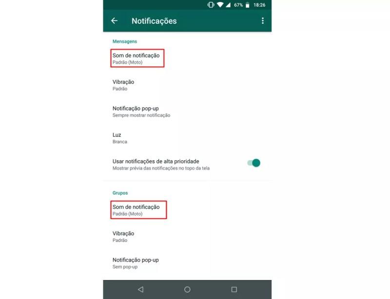 WhatsApp também permite usar músicas do celular como alerta de notificação de novas mensagens — Foto: Reprodução/Rodrigo Fernandes