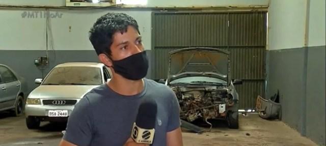 Mecânico João Paulo Andrade da Costa foi espancado por cliente em Tangará da Serra — Foto: TV Centro América