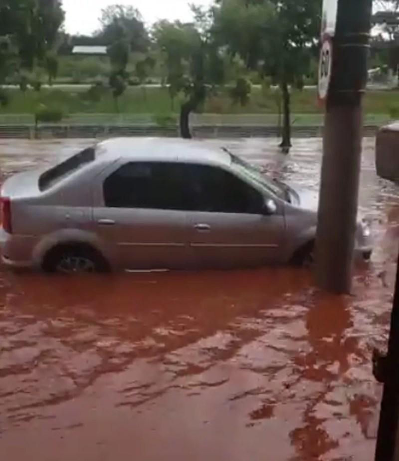 Avenida Philadelpho Gouvêa Netto ficou alagada também com a chuva em Rio Preto — Foto: Arquivo Pessoal