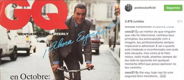 Cassiana Mallmann, ex-mulher de Paulo Zulu, defende o modelo (Foto: Reprodução / Instagram)