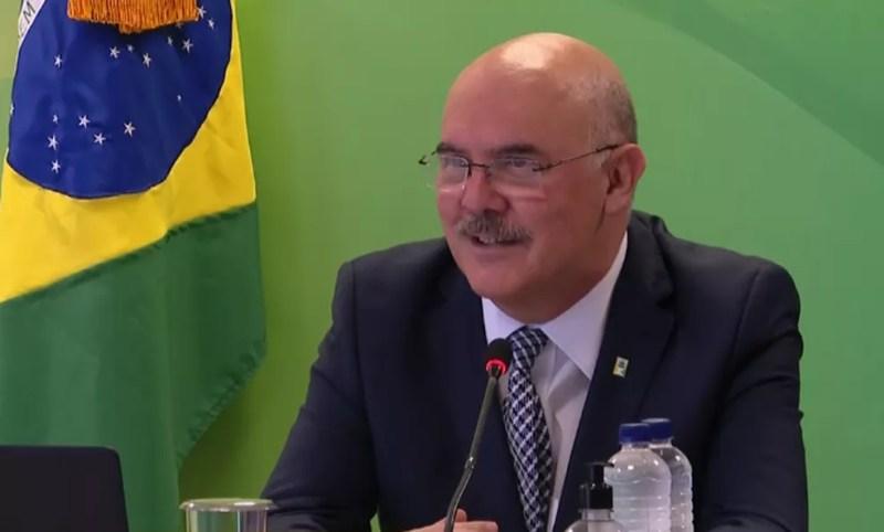 17 de agosto - ministro da Educação, Milton Ribeiro, durante entrevista à imprensa, em Brasília — Foto: Reprodução/TV Globo