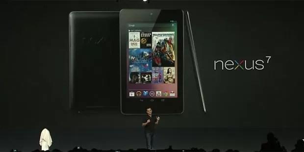 Executivo Hugo Barra apresenta o tablet do Google, chamado Nexus 7 (Foto: Reprodução)