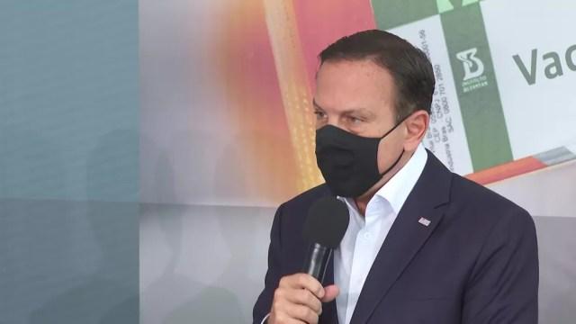 O governador de SP, João Doria, participou do anúncio sobre a CoronaVac nesta quinta-feira (10) — Foto: Reprodução/TV Globo