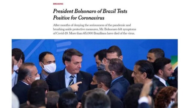 New York Times destacou que Bolsonaro negou seriedade da pandemia e ignorou medidas de proteção — Foto: Reprodução/New York Times