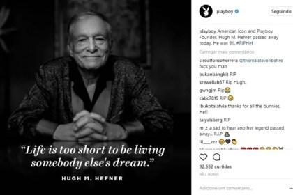Playboy presta homenagem a Hugh Hefner no Instagram (Foto: Reprodução/Instagram)