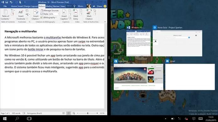 Windows 10 pode dividir tela entre diferentes aplicativos também em tablets (Foto: Reprodução/Elson de Souza) (Foto: Windows 10 pode dividir tela entre diferentes aplicativos também em tablets (Foto: Reprodução/Elson de Souza))