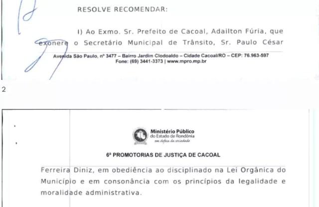Trecho da recomendação do MP-RO ao prefeito de Cacoal, RO, Adailton Fúria — Foto: Reprodução