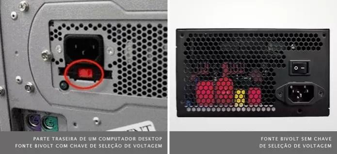 Chave de seleção de voltagem está presente em computadores desktop mais antigos (Foto: Reprodução/HP e C3Tech) (Foto: Chave de seleção de voltagem está presente em computadores desktop mais antigos (Foto: Reprodução/HP e C3Tech))