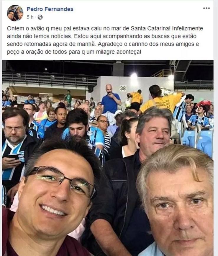 Pré-candidato ao governo do Rio, Pedro Fernandes, pediu apoio por meio das redes sociais para o pai (Foto: Reprodução/ Facebook)