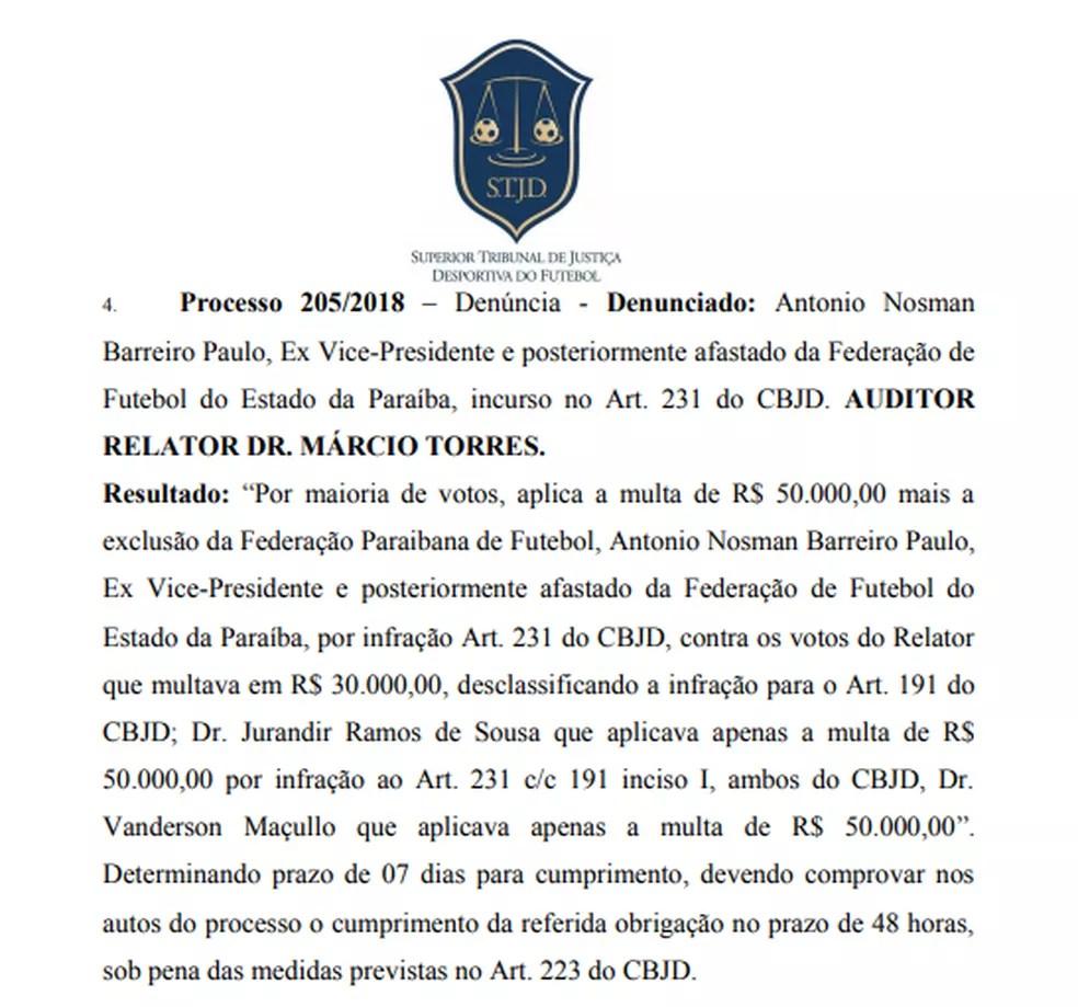 deodk - STJD pune Nosman Barreiro com base no Código Brasileiro de Justiça Desportiva