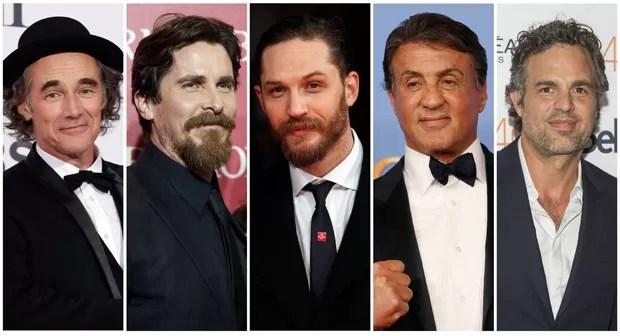 Os nomeados a melhor ator coadjuvante do Oscar 2016: Mark Rylance ('Ponte de Espiões'), Christian Bale ('A Grande Aposta'), Tom Hardy ('Mad Max'), Sylvester Stallone ('Creed') e Mark Ruffalo ('Spotlight'). (Foto: Reuters)