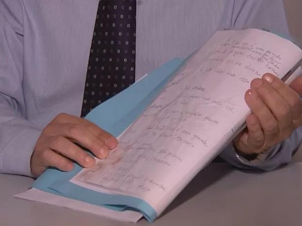 Outro trecho da carta deixada pelo zootecnista (Foto: Reprodução/TV TEM)