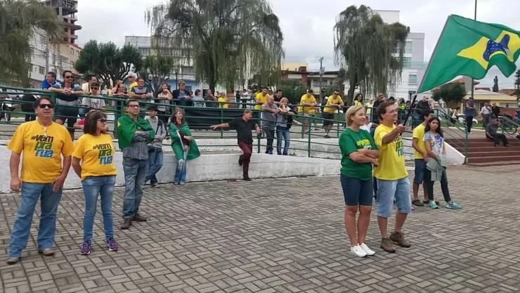 Manifestação em Lages começou às 10h na Praça Joca Neves (Foto: PM/Divulgação)