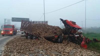 Cabine do caminhão ficou destruída após acidente na BR-101, em Palmares (Foto: PRF/Divulgação)