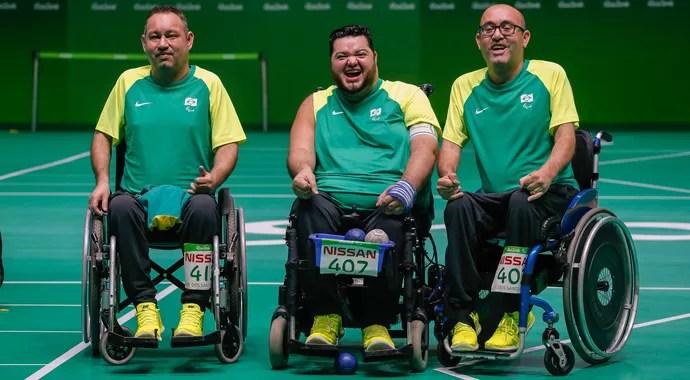 Bocha - Jogos Paralímpicos Rio 2016 - Marcelo Santos, Dirceu Pinto e Eliseu Santos (Foto: Marcelo Regua/MPIX/CPB)