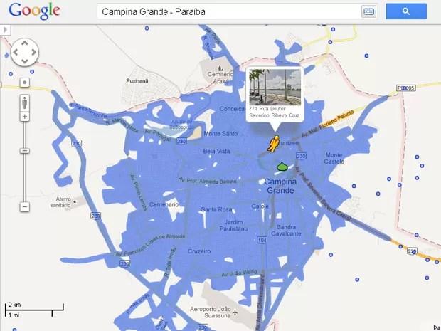 Campina Grande é a outra cidade paraibana incluída no Google Street View (Foto: Reprodução/Google Street View)